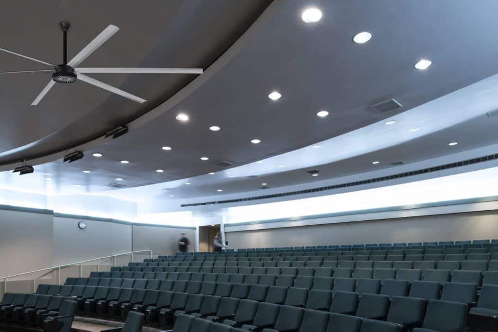 large commercial ceiling fan - auditorium install